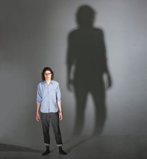 Comedian Simon Amstell with his shadow behind him