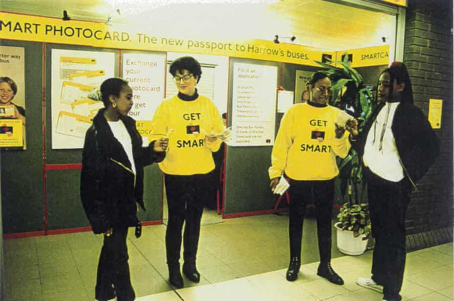 Staff promoting the Smart Photocard at the entrance to the Smartcard office in Harrow Underground Station