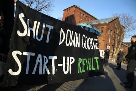 A banner protest against Google's plans to open a campus in the Kreuzberg area of Berlin. Photograph: Sean Gallup/Getty Images