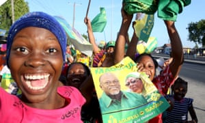 Supporters of John Magufuli celebrate after he was declared the winner of Tanzania's presidential election.