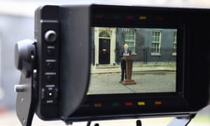 A TV camera shows Boris Johnson speaking at the start of the general election campaign