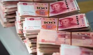 bundles of Chinese 100 yuan notes