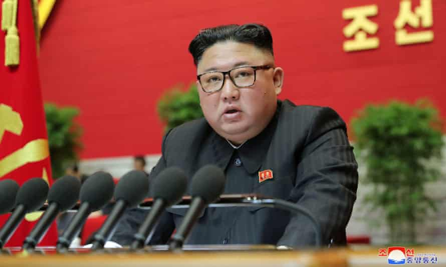 North Korean leader Kim Jong Un speaks during the 8th Congress of the Workers' Party in Pyongyang, North Korea
