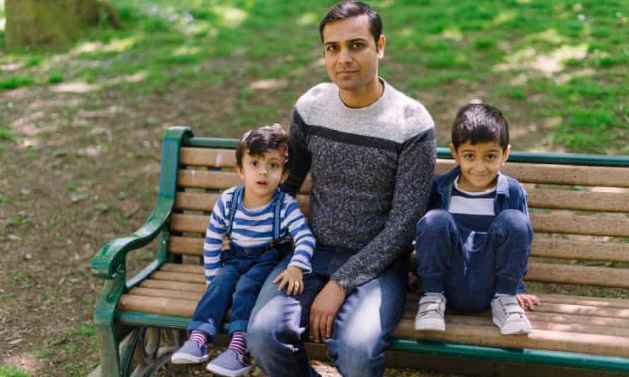 Owais Raja with his sons Aazan and Aayan.