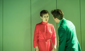 Aisling Loftus (Anne) and Julian Ovenden (Andrew) in Martin Crimp's The Treatment at the Almeida theatre, London.