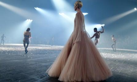 Dior dress modelled at Paris fashion week.
