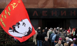 Russians celebrate Lenin's birthday in Moscow's Red Square.