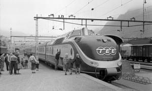 A German railways' Trans-Europe-Express in Switzerland in 1957