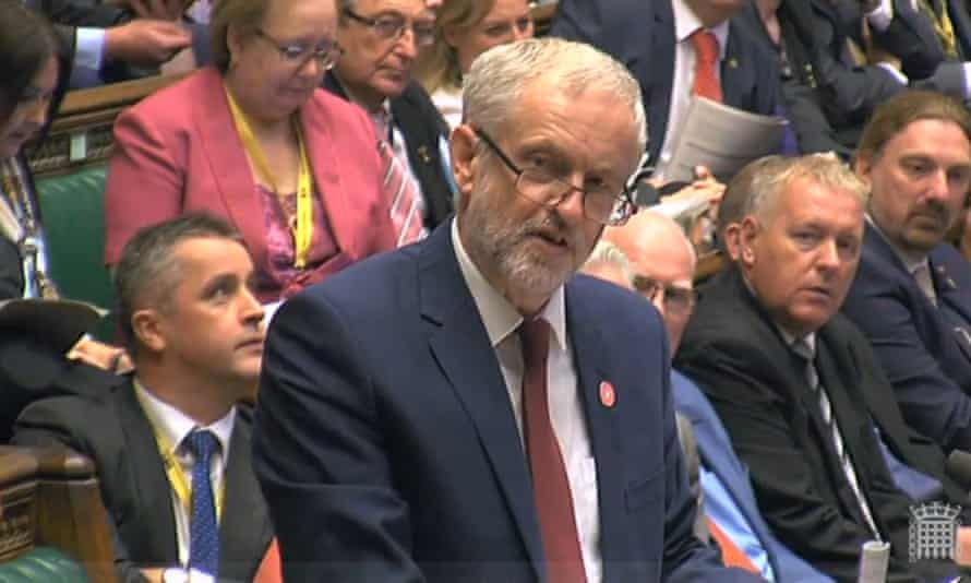 Jeremy Corbyn and his frontbench team at prime minister's questions on Wednesday