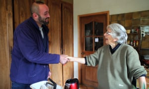 The personal touch ... French postman Nicolas Dezeure with Janine.