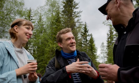 Future Library artist Katie Paterson, left, with author David Mitchell, in Nordmarka forest.
