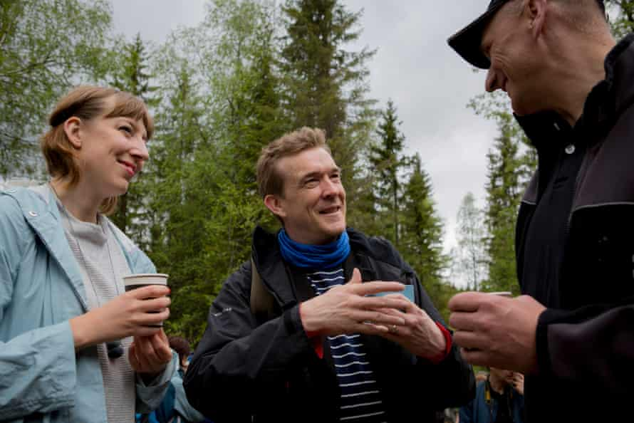 Katie Paterson, left, and David Mitchell, centre, visit the Nordmarka forest in Norway in May 2016.