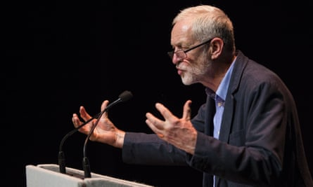 Jeremy Corbyn speaks at a rally at the Lowry theatre in Salford.