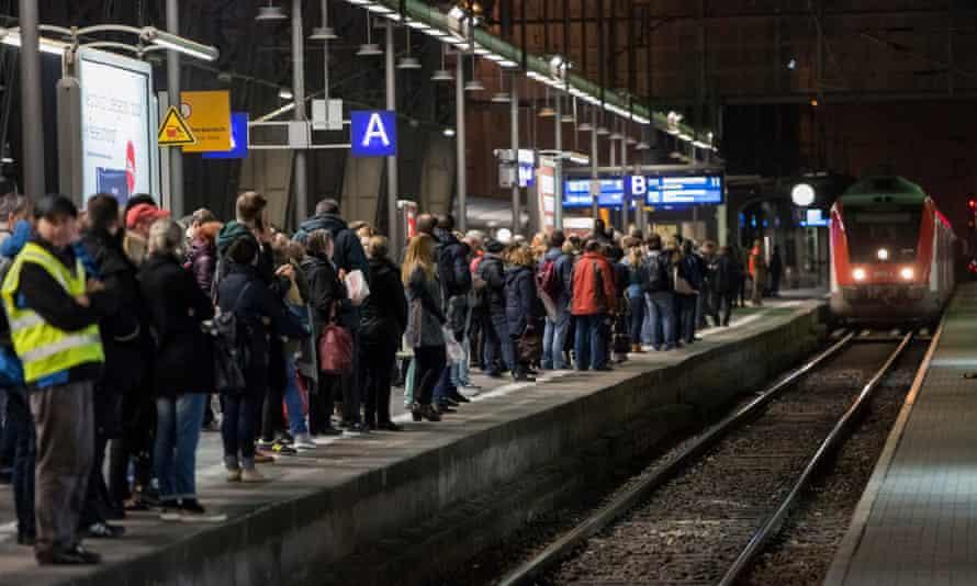 rail commuters in Frankfurt