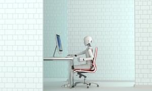 Robot working at desk