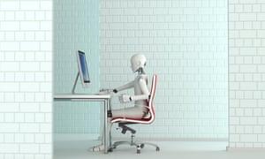 Robot working at desk, 3D RenderingH64CG5 Robot working at desk, 3D Rendering