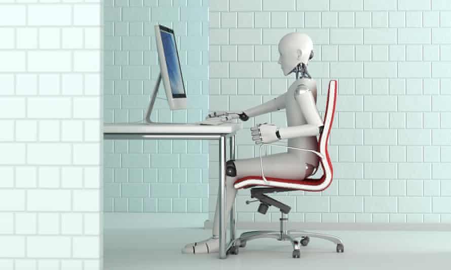 3D rendering of robot working at desk.