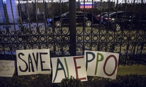 Signs for the people of Aleppo at the Russian ambassador's residence in Washington, USA.