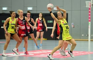 Liana Leota of Manchester Thunder takes the ball in the air during the Vitality Netball Superleague match against Strathclyde Sirens in April 2019.
