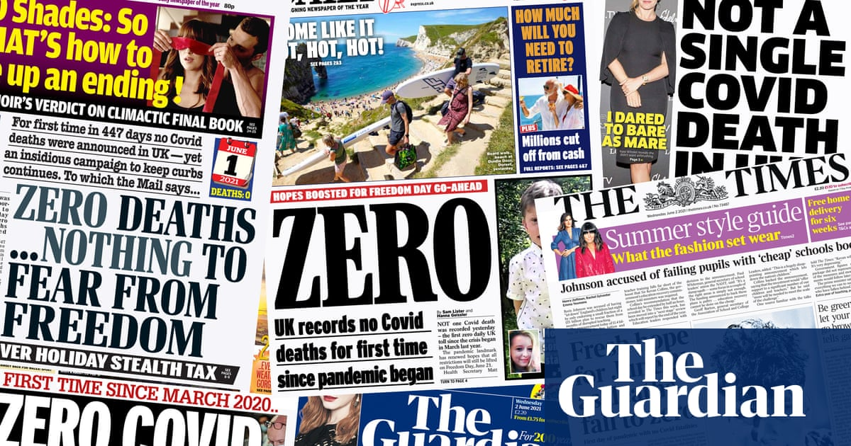 'Zero': how the UK papers covered a day without a single reported Covid death