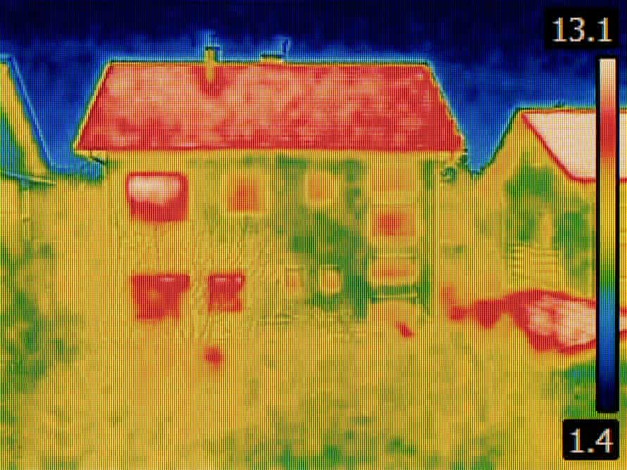 A thermal image of a house