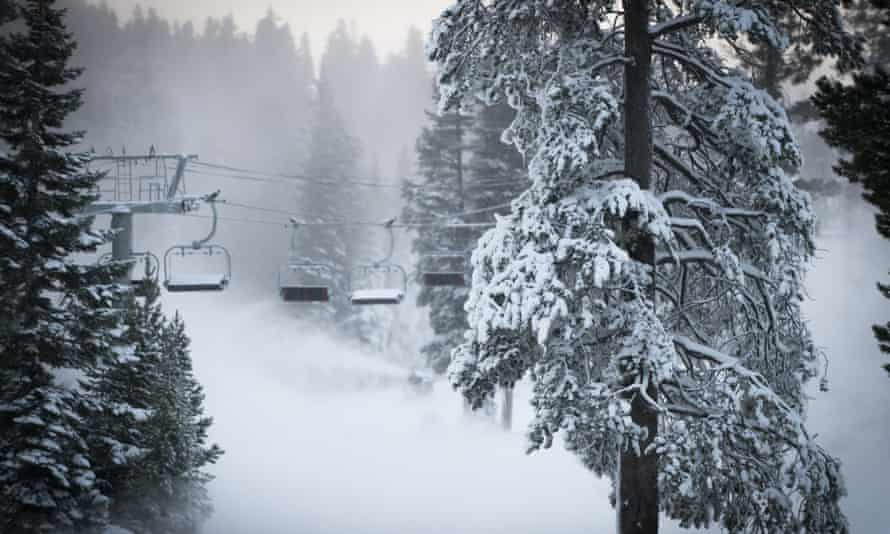 Officials in the famed lake ski and resort area are urging people to stay away.