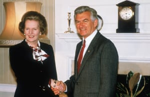 Thatcher and Hawke shake hands