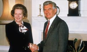 Former UK prime minister Margaret Thatcher and former Australian PM Bob Hawke