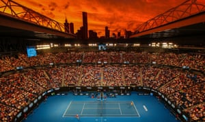 The Rod Laver Arena at sunset during the Australian Open third-round match between Alex de Minaur and Rafael Nadal