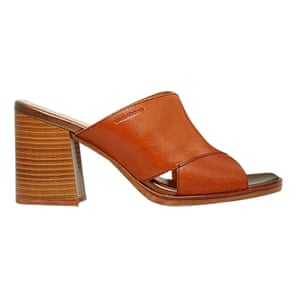 brown cross strap wooden heeled mules