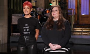 Host and musical guest Halsey with Aidy Bryant.