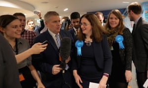 Caroline Johnson with reporters after by election victory