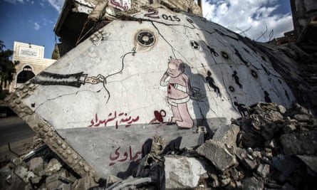 Graffiti in memory of victims of a chemical attack in Damascus