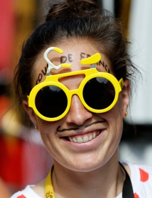 A nice' tache and glasses combo on display in Rodez ahead of the start of 14th stage which finished in Mende