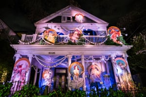 The Krewe of Muses Cosmos House is decorated with the nine Muses