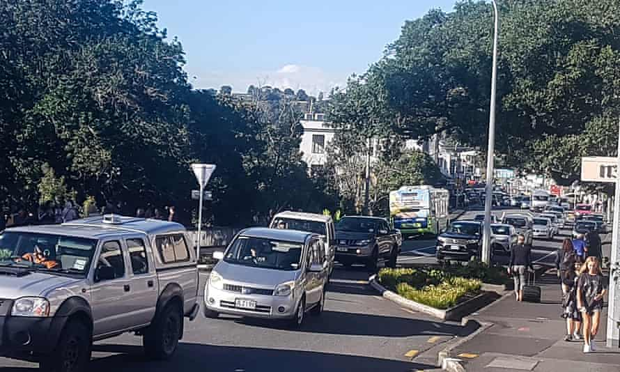 Traffic heads for high ground at Whangarei after a tsunami warning was issued in the wake of three earthquakes.