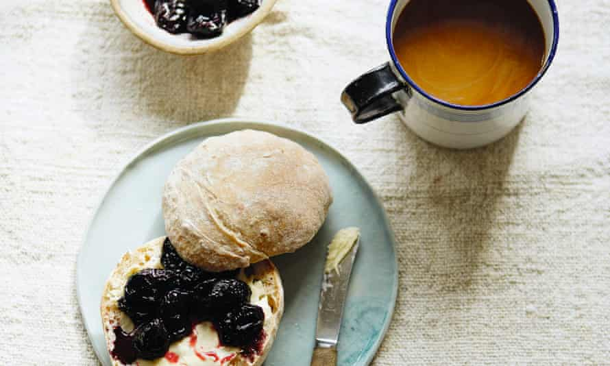 7am breakfast rolls with sour cherry and vanilla jam