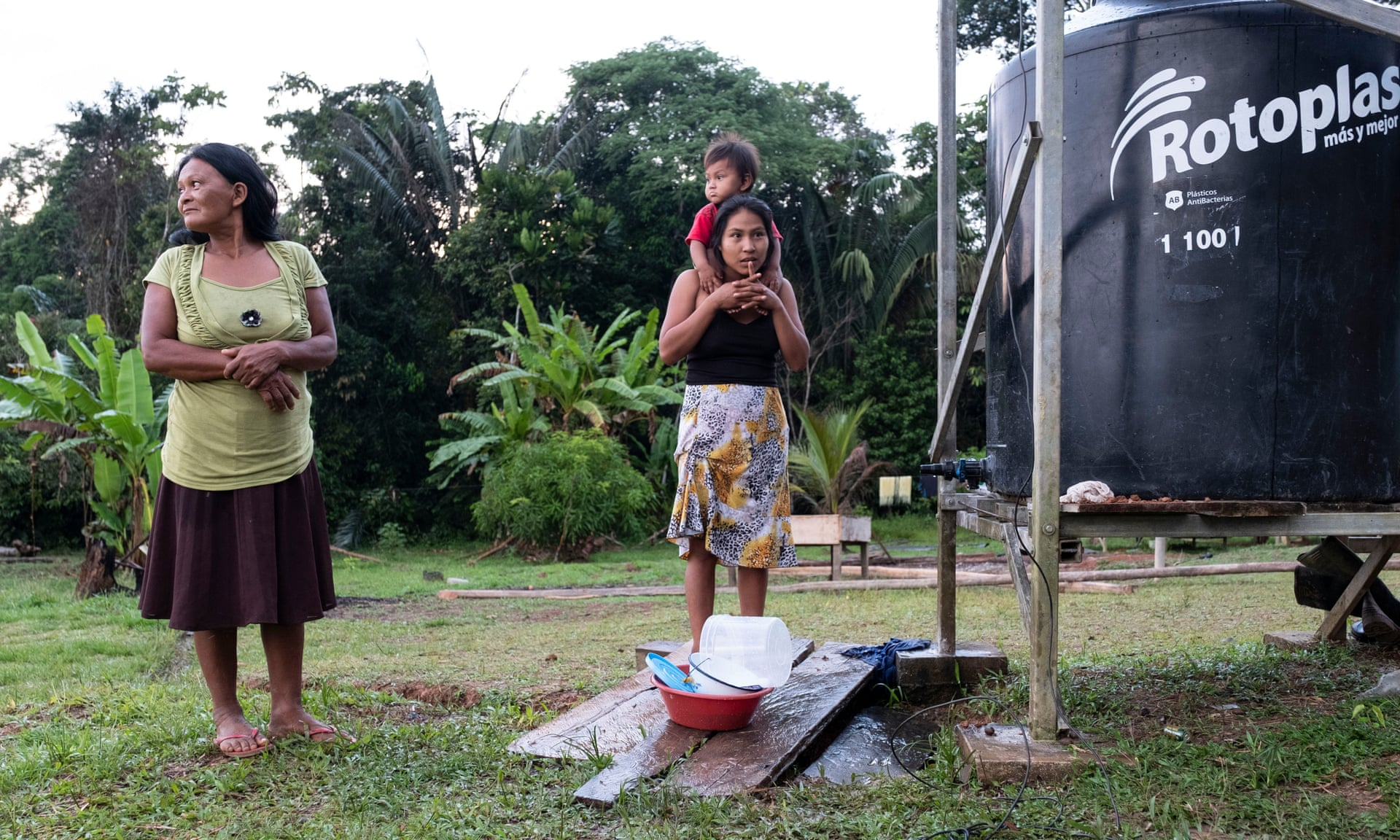 People use water from the tanks for drinking, cooking and washing up. Photograph: Ceibo Alliance