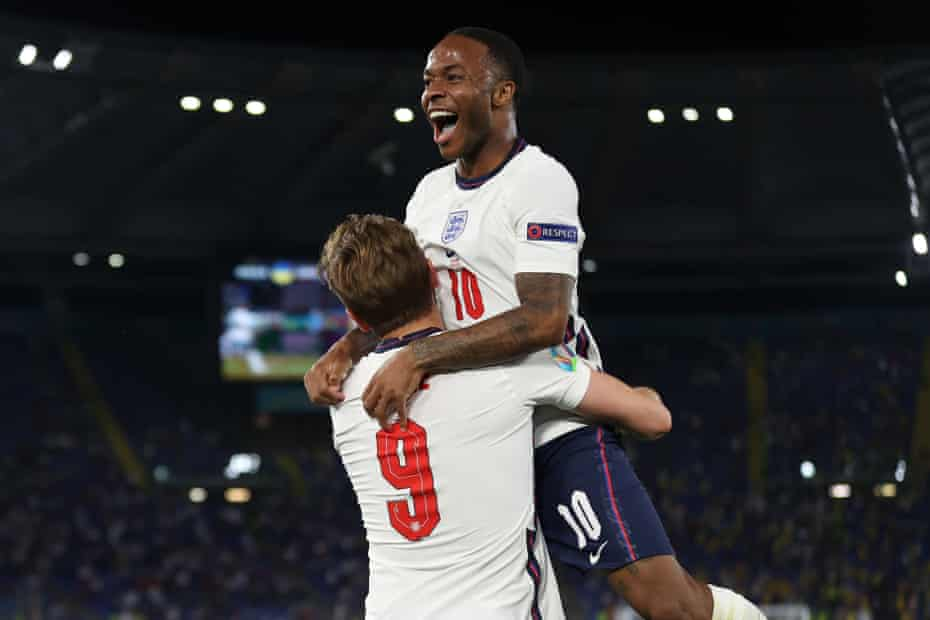 Raheem Sterling gets a lift from Harry Kane after England's captain scored the third goal against Ukraine.