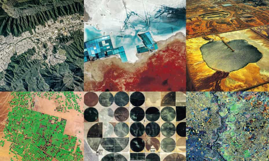 aerial shots of large-scale human impact on natural environments
