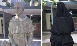 A statue at Blackfriars Priory School in Adelaide, Australia, which was covered up after being deemed inappropriate. November 2017.