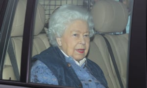 The Queen leaving Buckingham Palace for Windsor Castle yesterday.