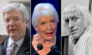 Tony Hall (L) announced the BBC's response to the review by Dame Janet Smith (C) into abuse by Jimmy Savile (R) at the corporation.