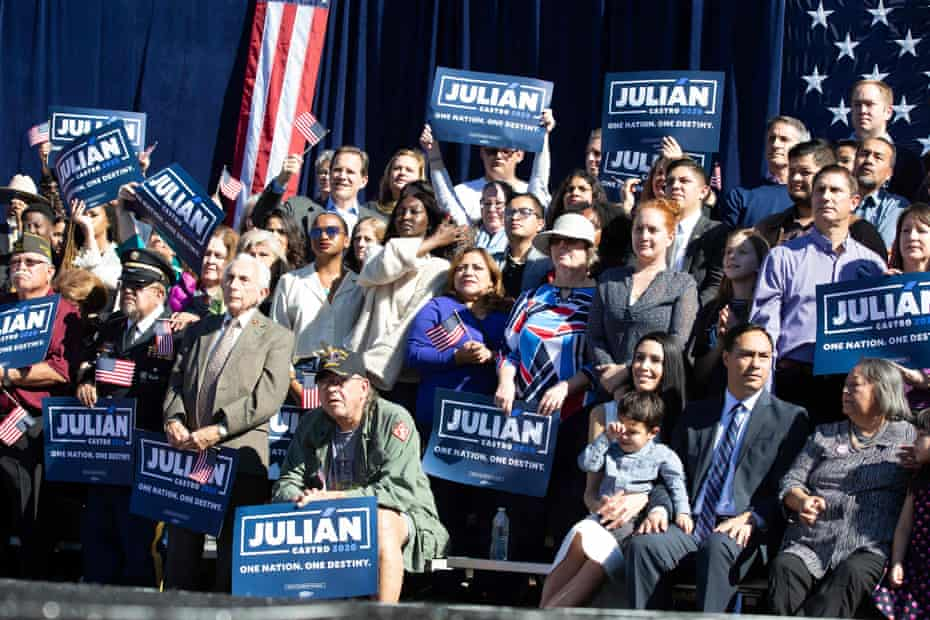 Suppporters in San Antonio as Juliàn Castro announces his candidacy.