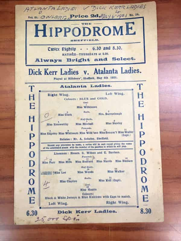 The programme from Dick Kerr Ladies' game against Atalanta Ladies at Hillsborough in May 1921.