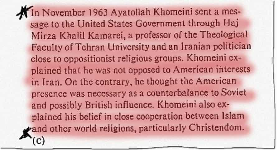 A declassified 1980 CIA analysis titled Islam in Iran, published by the BBC, says Ayatollah Khomeini had reached out to the US in 1963.