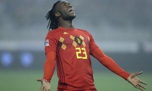 Michy Batshuayi playing for Belgium