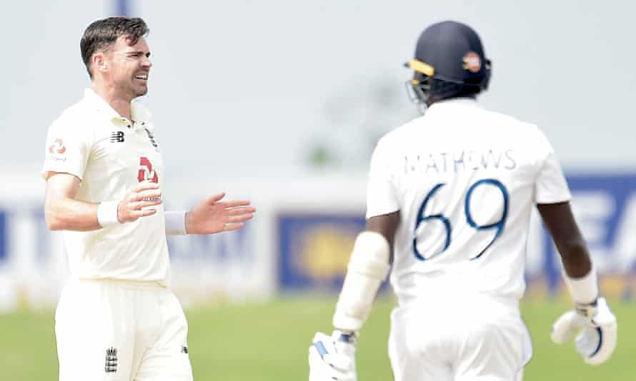 James Anderson asks for a review. He took six for 40, including the wicket of Angelo Mathews for 110.