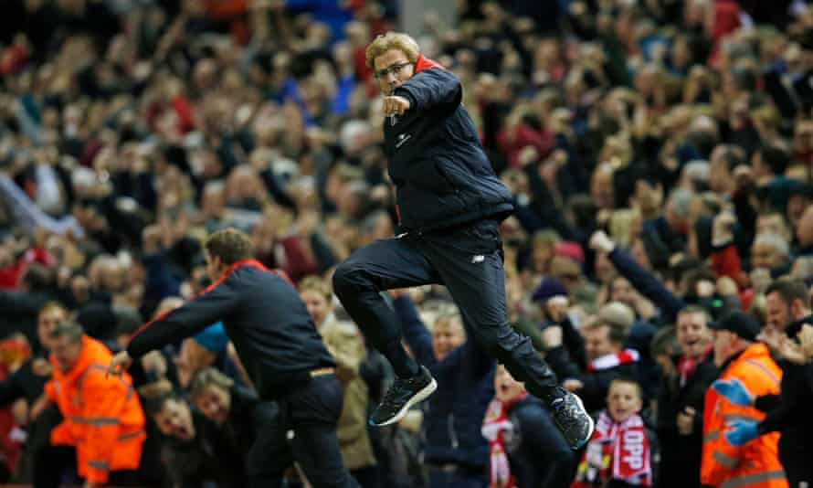 Jürgen Klopp celebrates Christian Benteke's goal against Southampton at Anfield last month in typically exuberant style