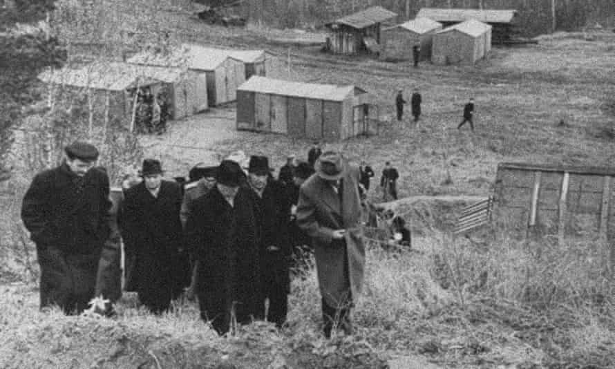 Nikita Khrushchev, foreground centre, visits Akademgorodok during construction in the 1950s.